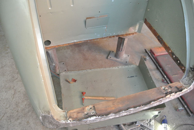 Rusted boot floor removed to fabricate new one, the boot bottom panel and timber frame had also rotted away.