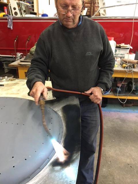 Bert the aluminium panel wizard working on the Bristol Bootlid
