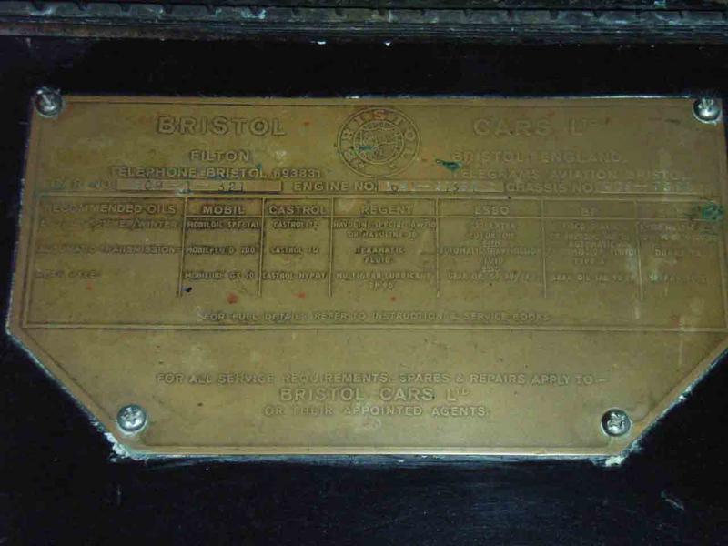 Bristol 409 Body Plate 20a